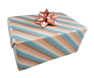 Gift Wrap Sheets Pastel Stripe and Gold Recycled