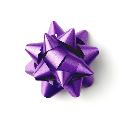 Purple Star Bows-Purple Self-adhesive Bows