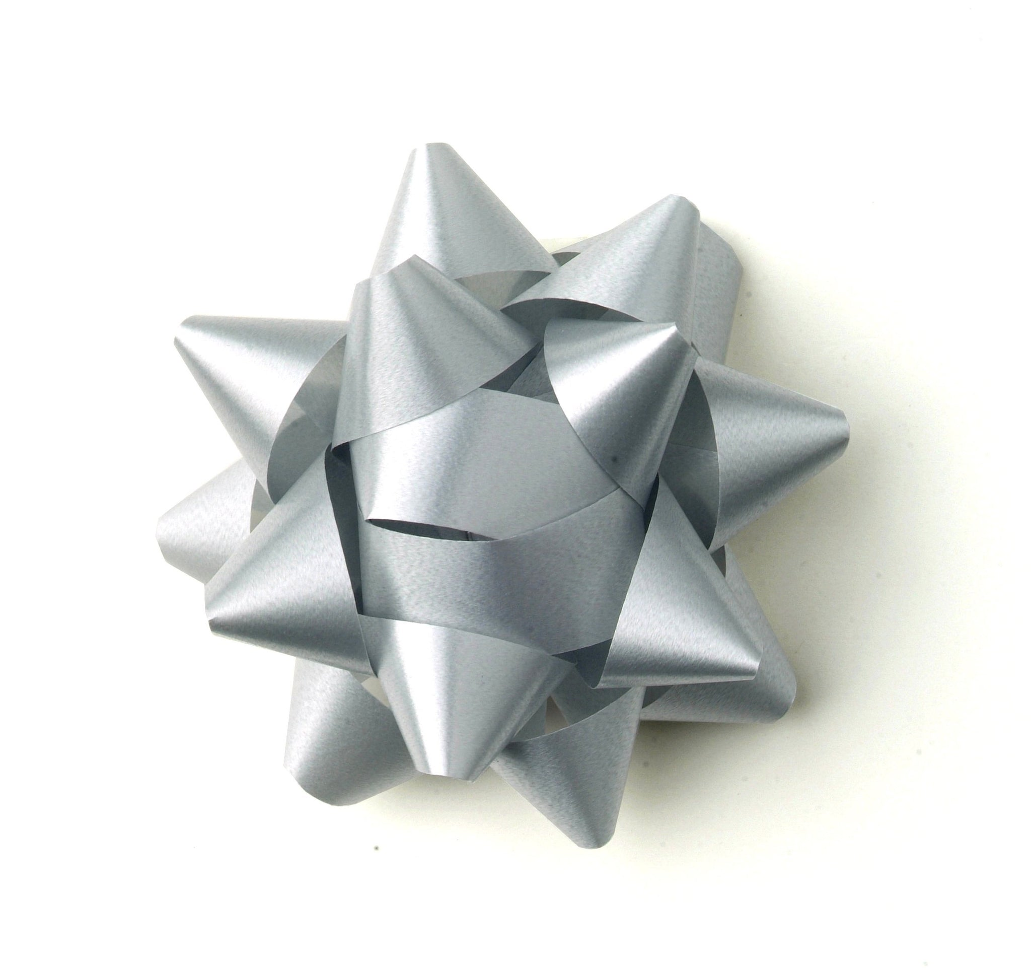 Pastel Silver Star Bow-Pale Grey Bow-Self-adhesive Grey Bow