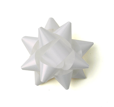 White Star Bows-White Self-adhesive Bows