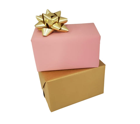 Pastel Pink & Gold Matte Reversible Gift Wrap Counter Roll