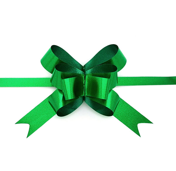 Metallic Green Pull Bows