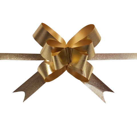 Matte Gold Metallic Pull Bow-Gold Bow