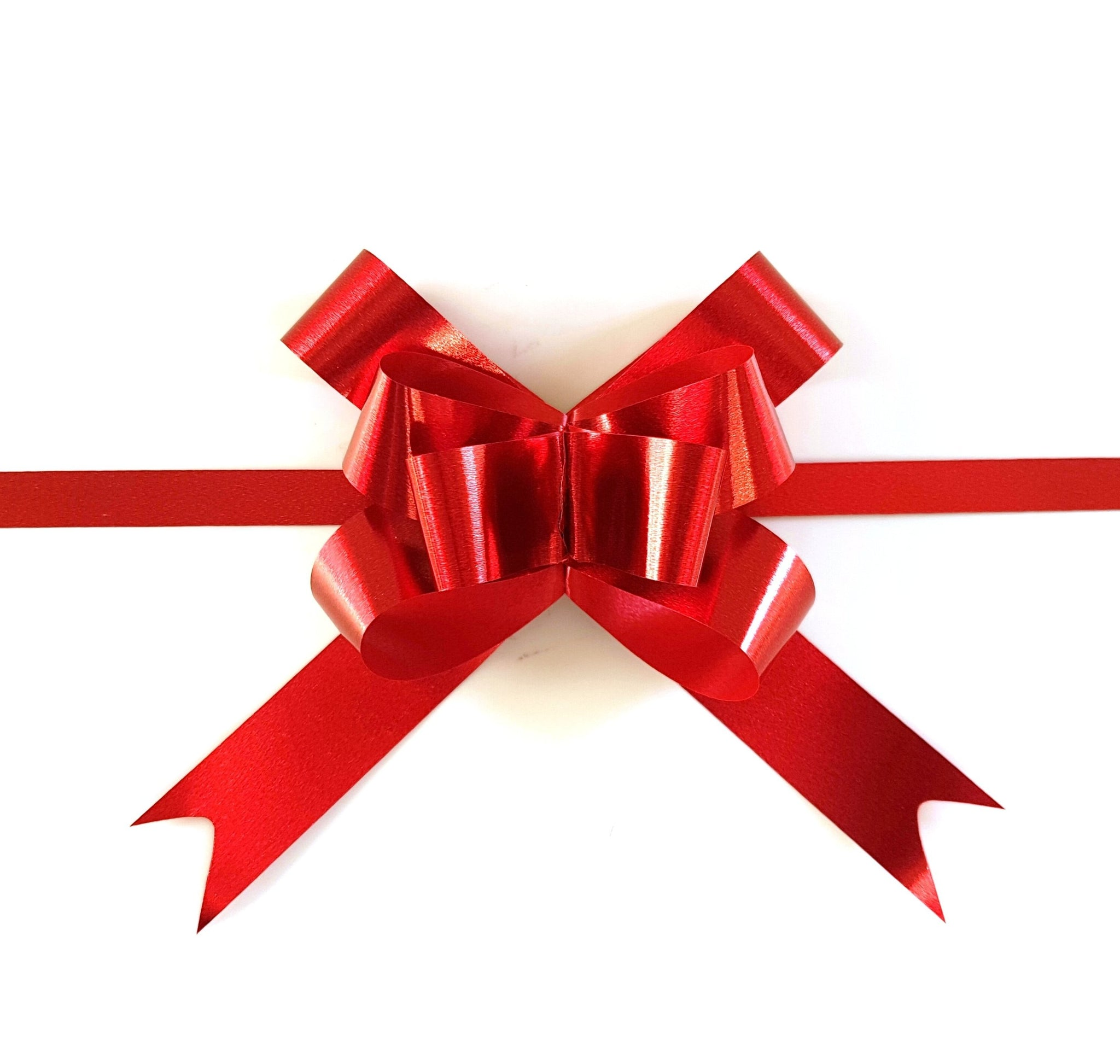 Red Metallic Pull Bow-Red Xmas Bow