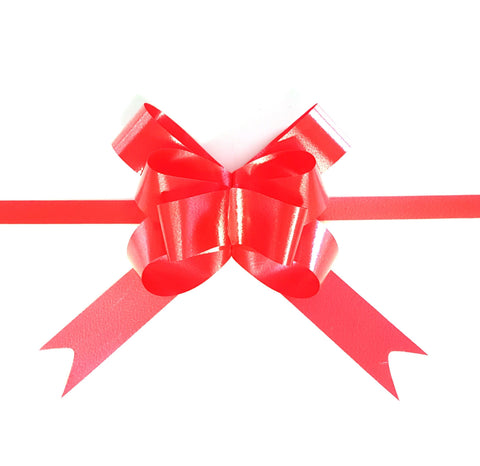 Red Pull Bow-Red Xmas Bow-Pastel Red Pull Bow