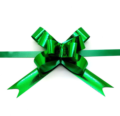 Shiny Green Pull Bows-Green Christmas Bows