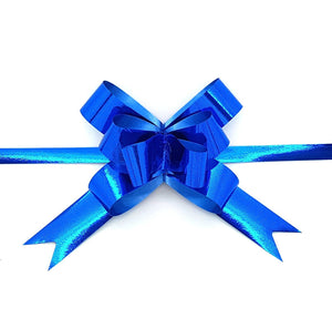 Shiny Royal Blue Pull Bows-Shiny Blue Xmas Bows