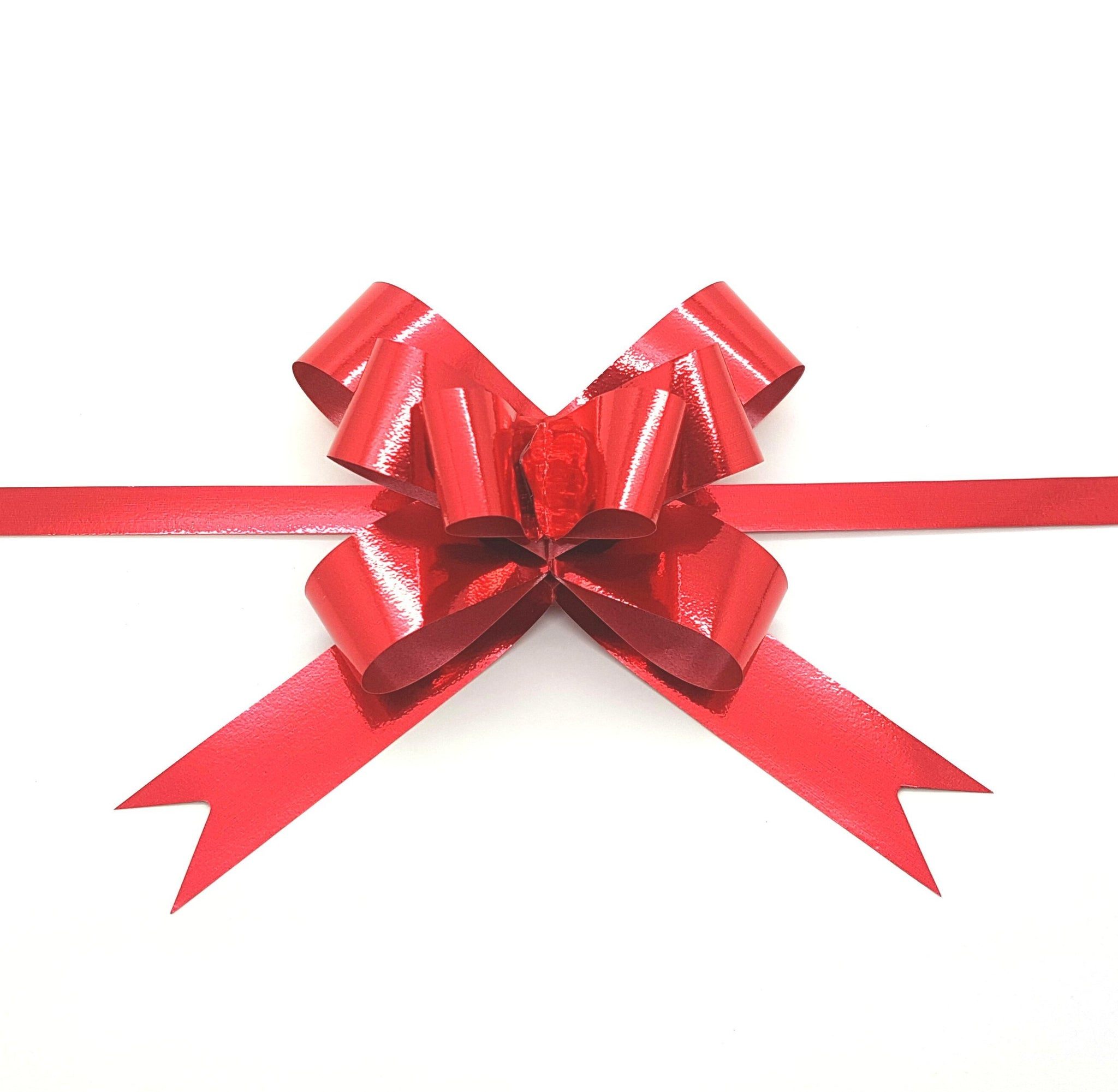 Shiny Red Pull Bows-Shiny Red Xmas Bows