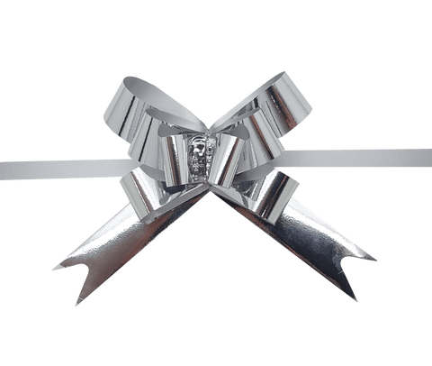 Shiny Silver Pull Bows-Silver Pull-up Bows