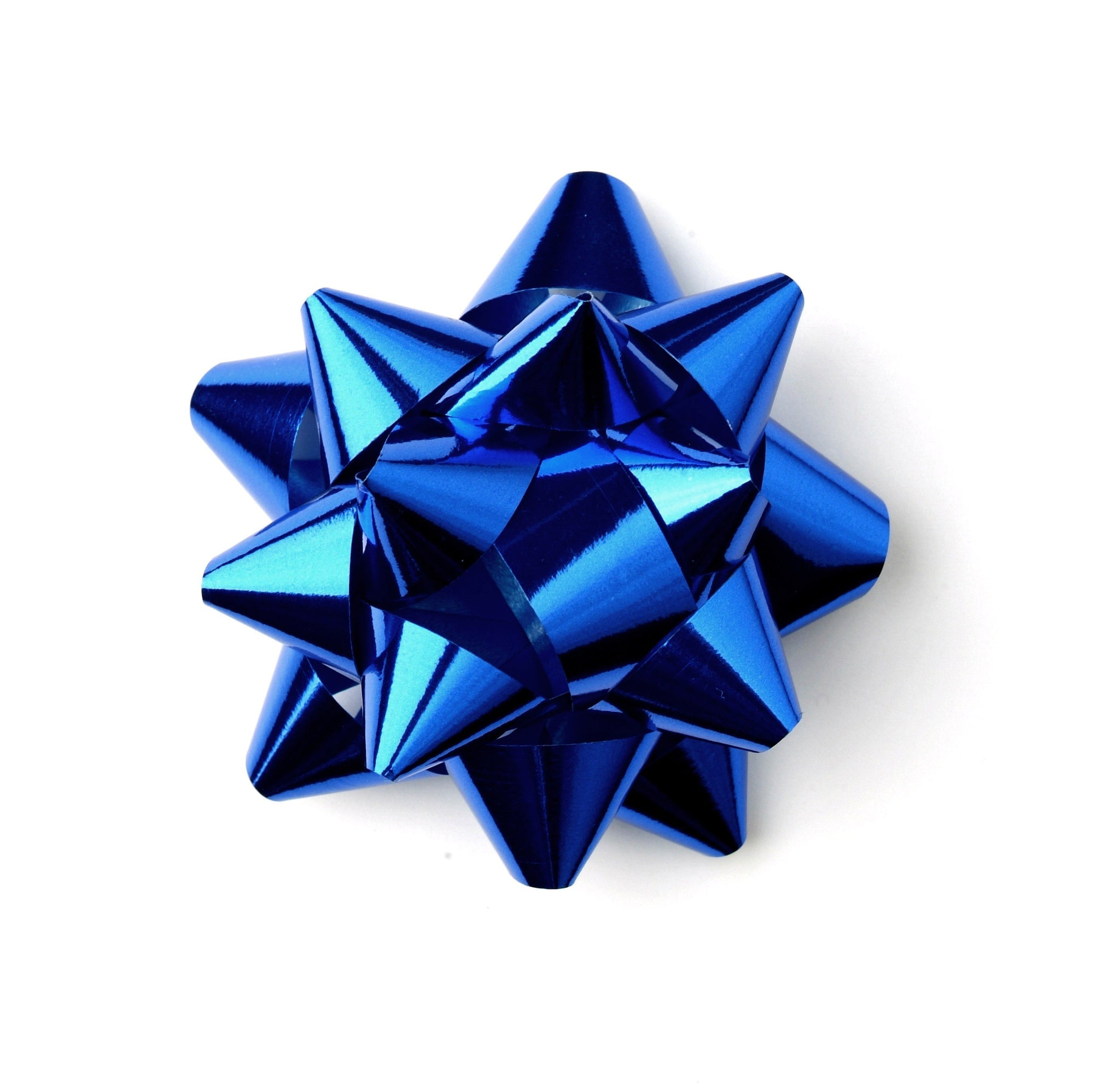 Shiny Blue Star Bows-Blue Self-adhesive Xmas Bows