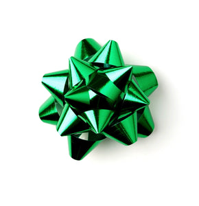 Shiny Green Star Bows-Shiny Green Xmas Bows