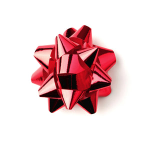 Shiny Red Star Bow-Shiny Xmas Bows-Red Self-adhesive Bows