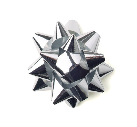 Shiny Silver Star Bows-Shiny Silver Bows
