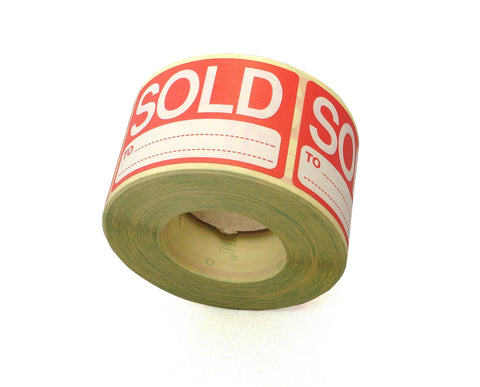 Roll of 'Sold To' Labels-Sold Sticky Labels