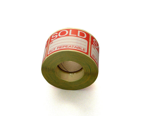 Sold But Repeatable Labels-Roll of Sticky Sold Labels