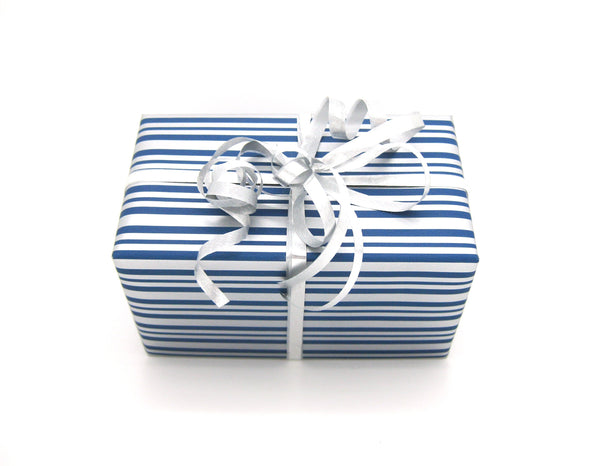 Counter Roll Royal Blue and Silver Dot and Stripe Gift Wrap