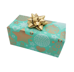 Pastel Teal Xmas Wrapping Paper-Counter Roll Teal Xmas