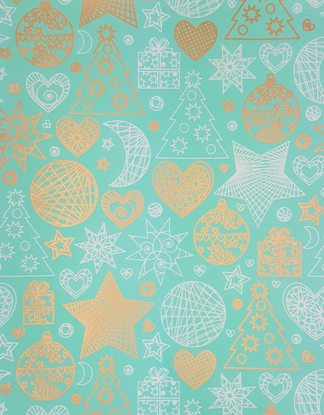 Teal Xmas Wrapping Paper Counter Roll-Whole Pattern