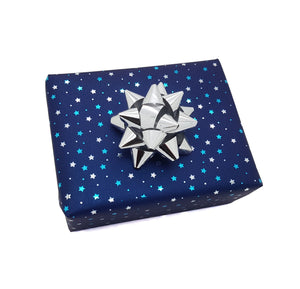 Dark Blue-Navy-Christmas Gift Wrap Tiny Stars-Small Pattern