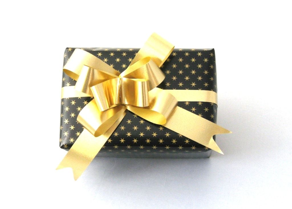 Black Gift Wrap - Tiny Gold Stars