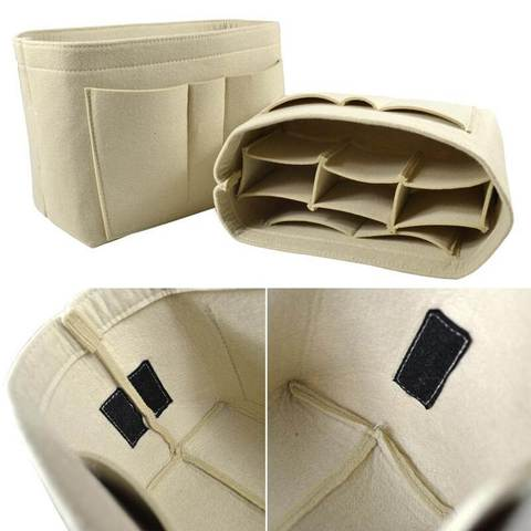 closeup beige felt bag organizer purse insert organization