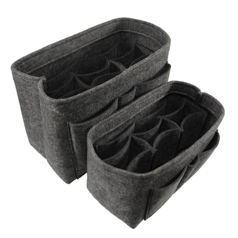 two grey felt bags organizers purse insert organization