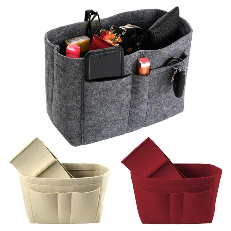 grey beige red felt bag purse organizer for handbag proud queen