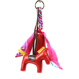 Silk Ribbon and Horse PU Leather Keychain