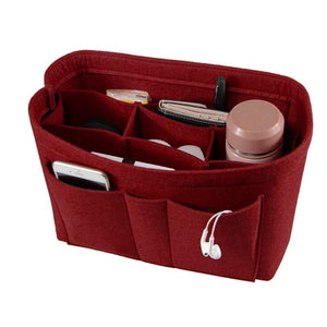 red felt bag purse organizer insert