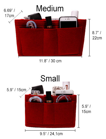 different size chart red felt bag organizer purse insert organization