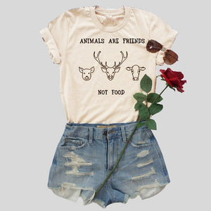7a920782f Animals are friends t shirt women fashion summer cotton tees funny slogan  cow graphic vintage tops