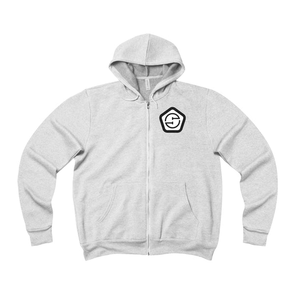 Unisex Fleece Full-Zip Hoodie (front & back)