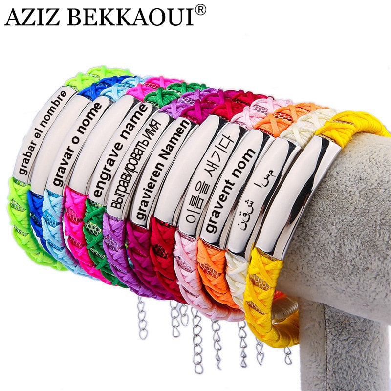Multicolor Charm Bracelet for Women Adjust Size Personalized Engraved Name Diy Jewelry Handmade Braided Ribbon Bohemian Bracelet