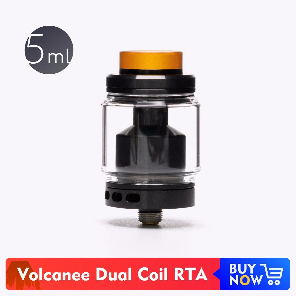 Volcanee Dual Coil Atomizer Tank eCigarettes 5ml Glass Capacity Adjustable Airflow Holes Atomizer 810 PEI Drip Tip Vape RTA