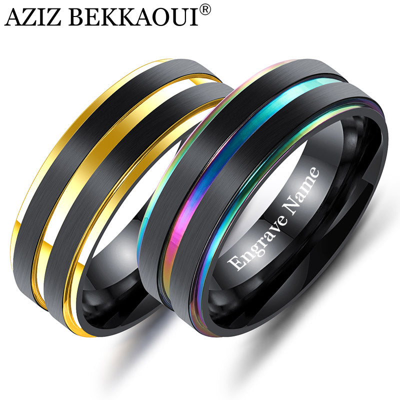 AZIZ BEKKAOUI Unique Black Men Ring Engrave Name Multicolor Stainless Steel Party Ring for Men Boyfriend Gifts