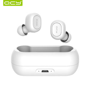QCY QS1 Mini Dual V5.0 Wireless Earphones Bluetooth Earphones 3D Stereo Sound Earbuds with Dual Microphone and Charging box