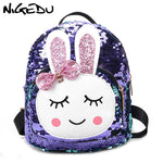 NIGEDU Small backpack for girls children Cute bunny bow schoolbag Fashion sequins mini Backpacks women bagpack 2019 bolsas Pink