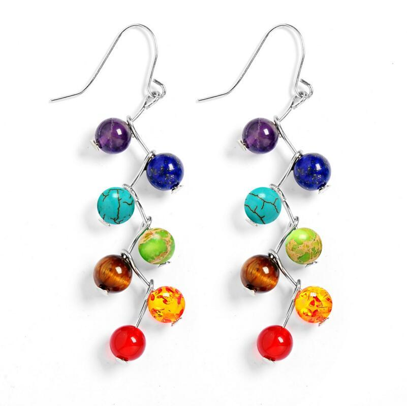 Silver Plated 7 Chakra Healing Balance Drop Earrings-Zen Magic