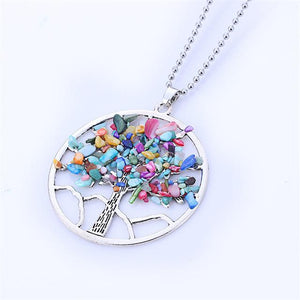 Tree Of Life Rainbow Gemstones Necklace-Zen Magic