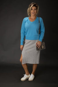 Cashmere Blend Side Slit Skirt With Cable Detail