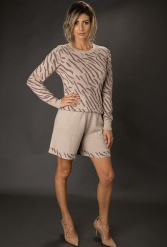 Merino Wool Zebra Jacquard Long Sleeve Sweater