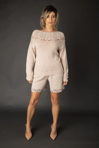 Merino Wool Crochet Yoke Sweater
