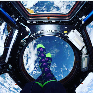 """Hanukkah Space Socks"" Men's Dress Socks Hanukkah Green"