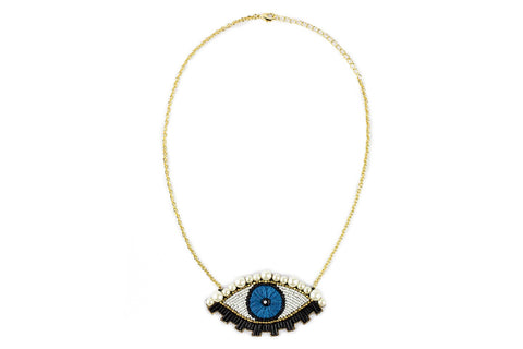 Emu necklace blue-gold