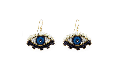 Eliz blue-gold earrings