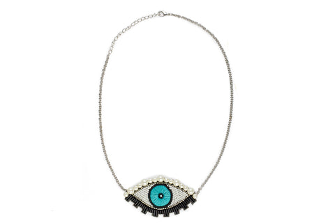 Emu necklace turquoise-silver