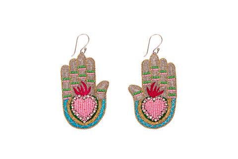Mani earrings silver-pink