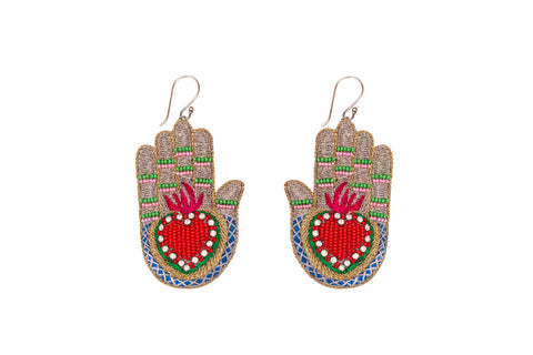 Manus earrings silver-red