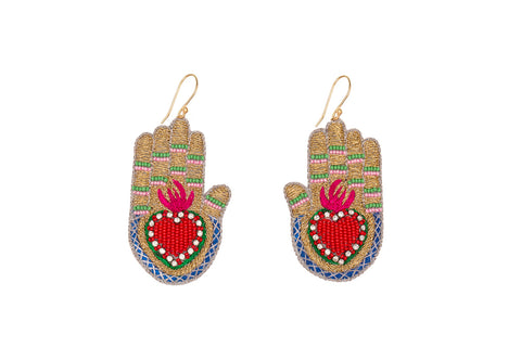 Manus earrings gold-red