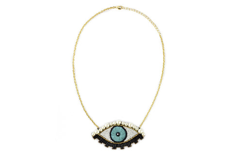 Emu necklace mint-gold